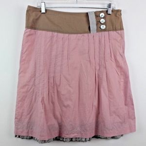 Women's Tan Pink Pleated Layered A Line Skirt